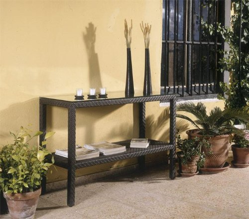 Soho Patio Console Table w Lower Shelf - Wicker Weave Java Brown (Patio Console Table compare prices)