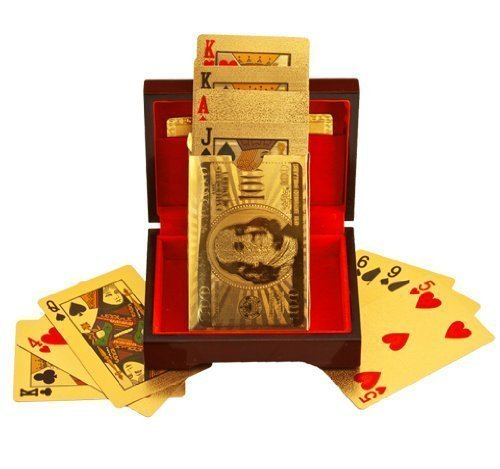Generic, Deck of Poker Playing Cards in 999.9 Gold Foil Plating with Certificate and Mahogany Box, Bridge Size Cards, Playing Cards, Gold, 54 cards.