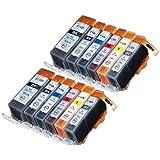 Pack 12 Canon CLI-526 , PGI-525 Cartouches Compatibles. 2 noir petite, 2 cyan, 2 gris, 2 magenta, 2 jaune, 2 noir grande compatible avec Canon Pixma MG6250, Pixma MG8250.Cartouches Compatibles. JET D ENCRE imprimantes. CLI-526BK , CLI-526C , CLI-526GY , CLI-526M , CLI-526Y , PGI-525BK © Encre Choix