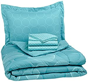 Pinzon by Amazon 5-Piece Bed In A Bag - Twin X-Large,  Industrial Vintage Teal