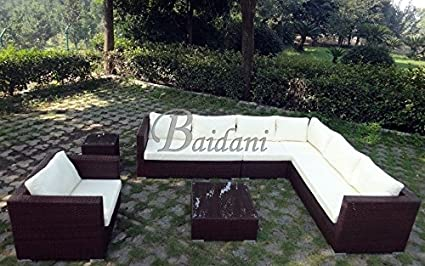 Baidani Rattan Garten Lounge Garnitur Destiny - Braun meliert