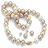"14k Yellow Gold 7-8mm Genuine Multi-color Pink Freshwater Pearl Necklace 18"" with Stud Earring Set"