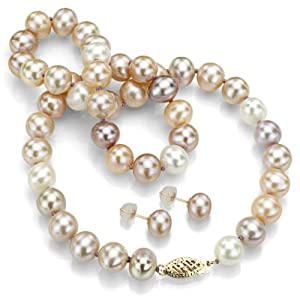"14k Yellow Gold 7-8mm Genuine Multi-color Pink Cultured Freshwater Pearl Necklace 18"" & Stud Earring"