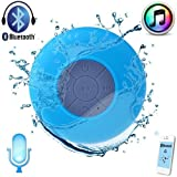 Kltech Waterproof Wireless Bluetooth Shower Speaker Handsfree Speakerphone Compatible with All Bluetooth Devices iPhone 5S and All Android Devices (blue 2014)