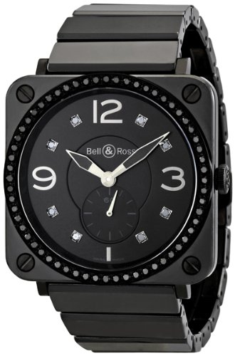 Bell and Ross Aviation Black Dial Diamond Unisex Watch BRS-BLKD-CER-PHT