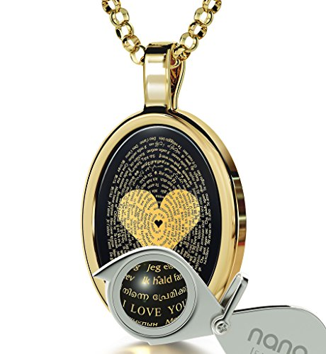 Gold Plated Love Necklace Inscribed with I Love You in 120 Languages on Onyx Pendant, 18