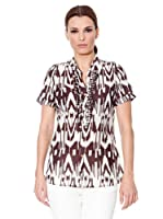Cortefiel Blusa Tribal (Blanco / Marrón)