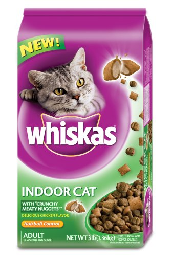 Whiskas Hairball Control Dry Food for Indoor Cats, 3-Pounds Bags (Pack of 6)