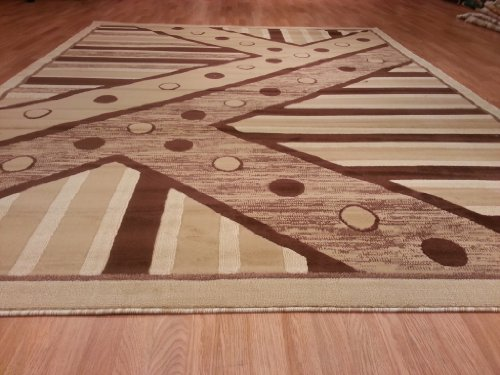 E526 Contemporary Modern Transitional Berber Beige 5x8 Actual Size 5'3x7'2 Rug