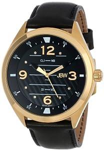 JBW Men's J6282A Aviation-Inspired Dial 8 Diamonds Leather Watch