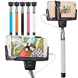 Casotec Selfie Stick with Mirror for Rear Camera Shoot, wired Remote Shutter Button Extendable Handheld Monopod for IOS Android - White