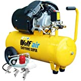 Wolf Cheyenne V-Twin 50 Litre, 3HP, 14CFM, 230v, MWP 150psi, 10BAR Air Compressor + 5 Piece Air Tool Kit which Includes: 5m Air Hose Line, Gravity Feed Spray Gun, Tyre Inflator, Long Nozzle Sprayer / Degreasing Gun and Blow Gun - READY TO GO!