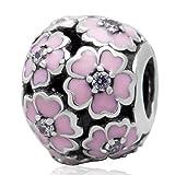 Choruslove Spring Pink Primrose Meadow Charm 925 Sterling Silver Enamel Bead for European Style Bracelet Jewelry(Clear CZ Stone)