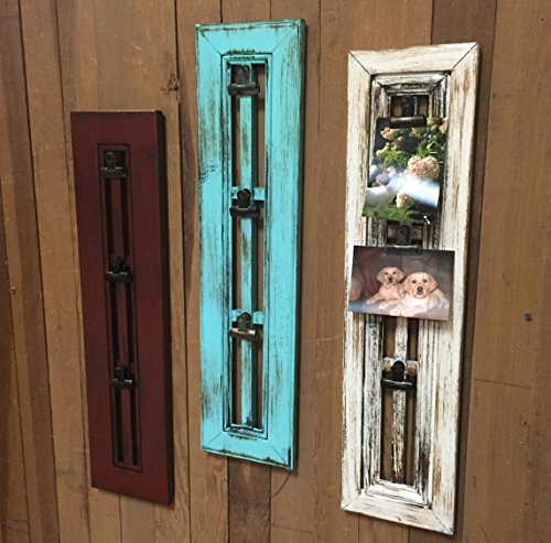 PHOTO HOLDER with CLIP Window Shutter / Picture Frame - Reclaimed Wood Distressed Rustic Blue Red Cream White	 1