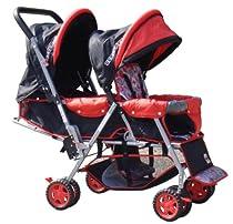 BeBeLove USA Tandem Stroller, Red