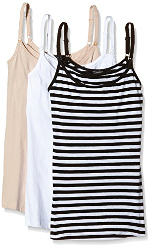 New Look Maternity Women's 3 Pack Nursing Striped Sleeveless Maternity Vest Top, Beige (Nude), 10