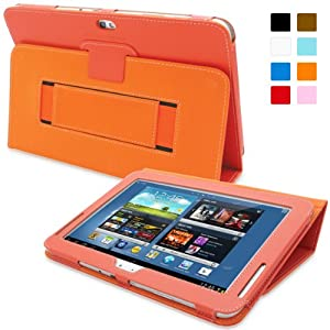 Snugg Galaxy Note 10.1 2013 Edition Case - Smart Cover with Flip Stand & Lifetime Guarantee (Orange Leather) for Samsung Galaxy Note 10.1 (2013)