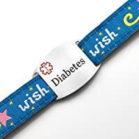 Diabetes Childrens Wish Sport Strap Bracelet with Medical ID Tag Adjustable 4 - 8 Inches from StickyJ