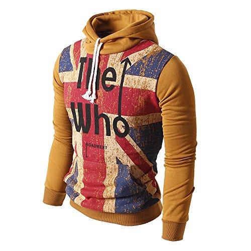 Men's British Flag Pattern Hoodies Sport Pull Over Sweatshirt Workwear WY06-KHAKI-S (British Khaki Mens Sweaters compare prices)