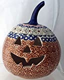 "7"" Polish Pottery Stoneware Pumpkin Halloween Jack-o'-lantern Unikat EOS Early October Orange"