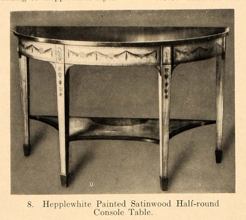Cheap 1919 Print Hepplewhite Half Round Console Table Painted – Original Halftone Print (B005DGTQB0)