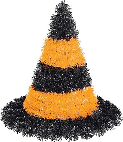3D Tinsel Black and Orange Witch Hat Decoration