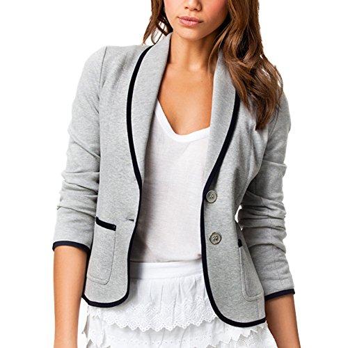 DELEY Donne Autunno Slim Fit Elegante Ufficio Business Giacca Tuta Blazer Top Camicetta Outwear Maglietta Grigio Taglia S