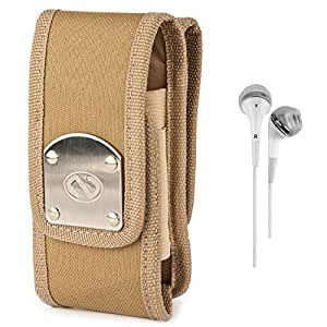 Vg-Gear Beige Canvas Mobile Pouch + White Hands-Free Earphones W/ Microphone