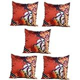 MeSleep Digitally Printed Bob Singer 5 Piece Cushion Cover Set - Multicolor