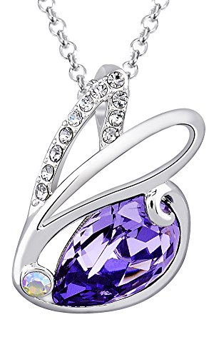 """Fappac Rhodium Plated Purple Crystal from Swarovski Bunny Rabbit Pendant Necklace, 15.5+2"""" Ext"""
