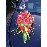 """Autoschmuck Autodeko Hochzeit 10 Rosen Dekor Verschieden Farben Komplett Rattan (Rosa, Blumenstrauss - rot)von """"APM"""""""