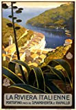 TA27 Vintage 1920's Italian Riviera Portofino Rapallo S.Margherita Italy Travel Poster Re-Print - A2+ (610 x 432mm) 24