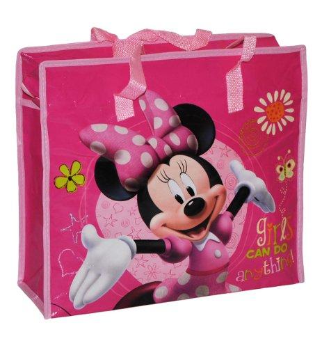 Shopper / Tragetasche / Umhängetasche mit Disney Minnie Mouse - Kindertasche Tasche Stoff für Mädchen Tragetasche Beutel Einkaufstasche - beschichtet und abwischbar - Strandtasche Reisetasche