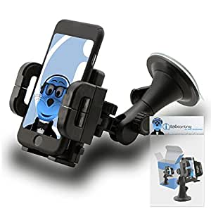 Black Multi-Directional Dashboard / Windscreen, Case Compatible (Use with or without your existing case!) Clip On Suction Mount In Car Holder For Huawei Ascend Y635