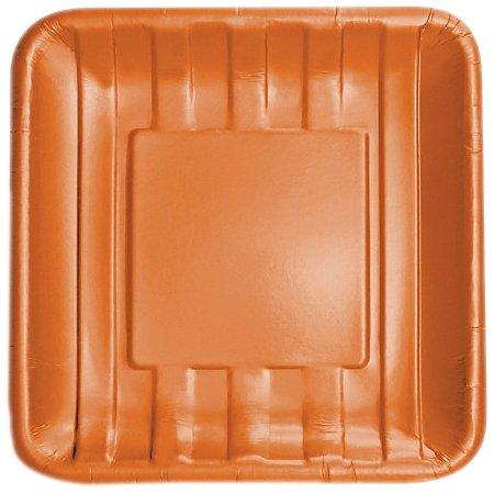 "Elise Striped Embossed 10"" Square Premium Paper Banquet Plates, 8 Count, Tangerine"