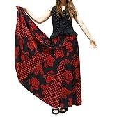 GI3046 バラ&水玉柄全円ストレッチスカート 黒-赤