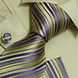 Purple striped neck ties boyfriends presents mens accessories yellow silk neck ties handkerchiefs set H6034