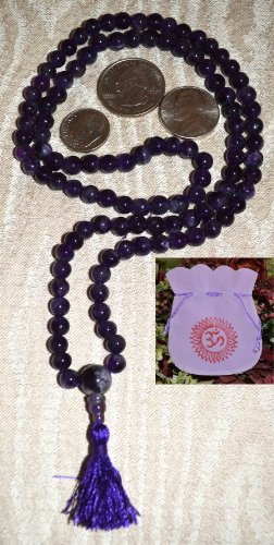 AMETHYST JAPA MALA BEADS A++ GRADE PRAYER NECKLACE. BLESSED & ENERGIZED (108+1) HINDU TIBETAN BUDDHIST PRAYER KARMA BEADS SUBHA ROSARY MALA FOR NIRVANA, BHAKTI, FOR REMOVING INNER DOSHAS, FOR CHANTING AUM OM, FOR AWAKENING CHAKRAS, KUNDALINI THROUGH YOGA MEDITATION-FREE OM MALA POUCH INCLUDED