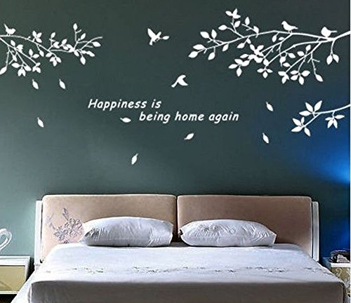 BestGrew® Trees Branches Birds White Wall Art Sticker Removable Vinyl Decal Mural Quote Home Decor DIY (White) (Wall Decals White compare prices)