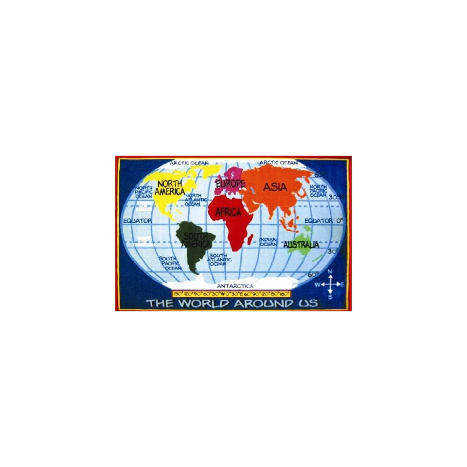 Kids World Map Multi Colored Area Rug   8 x 11