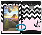 Wireless Fones TM Tough Hybrid Case for Straight Talk LG Optimus Logic L35G/ Net 10 LG Dynamic L38C Baby Pink Block Chevron with Small Anchor on Black Silicone + Wireless Fones Wristband