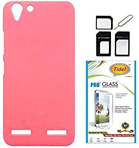 Tidel Ultra Thin and Stylish Rubberized Back Cover for Lenovo Vibe K5 Plus (PINK) With Tidel 2.5D Curved Tempered Glass & Micro/Nano Sim Adapter