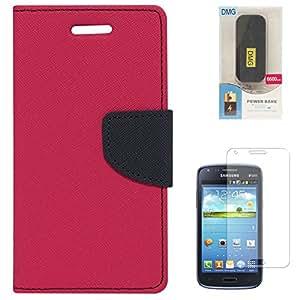 Mercury Goospery Wallet Cover For Samsung Galaxy Core i8262 (Magenta) + 6600 mAh PowerBank + Matte Screen