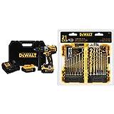 DEWALT DCD996P2 20V MAX XR Lithium Ion Brushless 3-Speed Hammer Drill Kit with DEWALT DW1361 Titanium Pilot Point Drill Bit Set, 21-Piece
