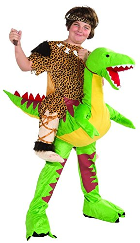 Dino & Caveboy Rider Ride a Dinosaur Child Costume Halloween Caveman Boys Girls (Captain Caveman Costume)