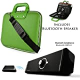 Green Cady Executive Leather Hard Cube Carrying Case with Shoulder Strap For Toshiba Excite 10 SE 10.1-inch Screen Tablet + Powerful Bluetooth Speaker