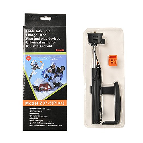 Apexel Z07-5 Plus 3.5mm Cable Connection Extendable Self Portrait Selfie Stick Monopod with Universal Phone Holder for iPhone Samsung HTC - Black