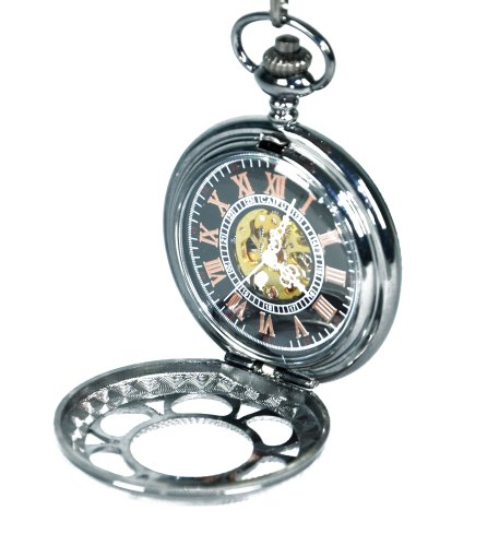 FlashingBoards Watches best price: Flashingboards Skeleton Pocket Watch Mechanical Hand Wind with Chain