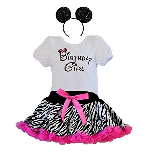 Birthday Girl T-Shirt, Leopard or Zebra Print Tutu with Ruffle Trim and Headband 3 Pcs Set (Age 1, ZBH-hp)
