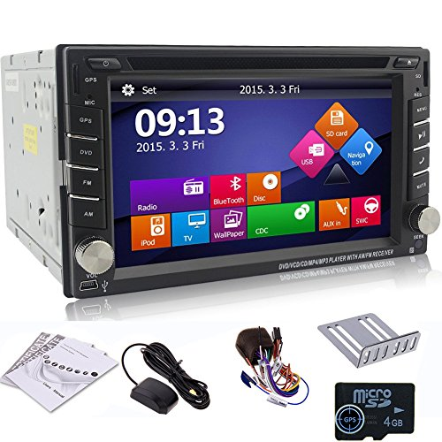 """ Windows 8 2015 New Model 6.2-inch 2-DIN HD LCD Touch Screen in Dash Car DVD Player with Dvd/cd/mp3/mp4/usb/sd/amfm/rds Radio/bluetooth/stereo/audio and GPS Navigation + Free Official Kudo GPS Map"""